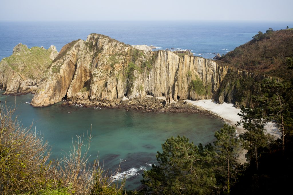 Cliff, beach and pines in playa del Silencio (silence beach). Asturias, Spain.