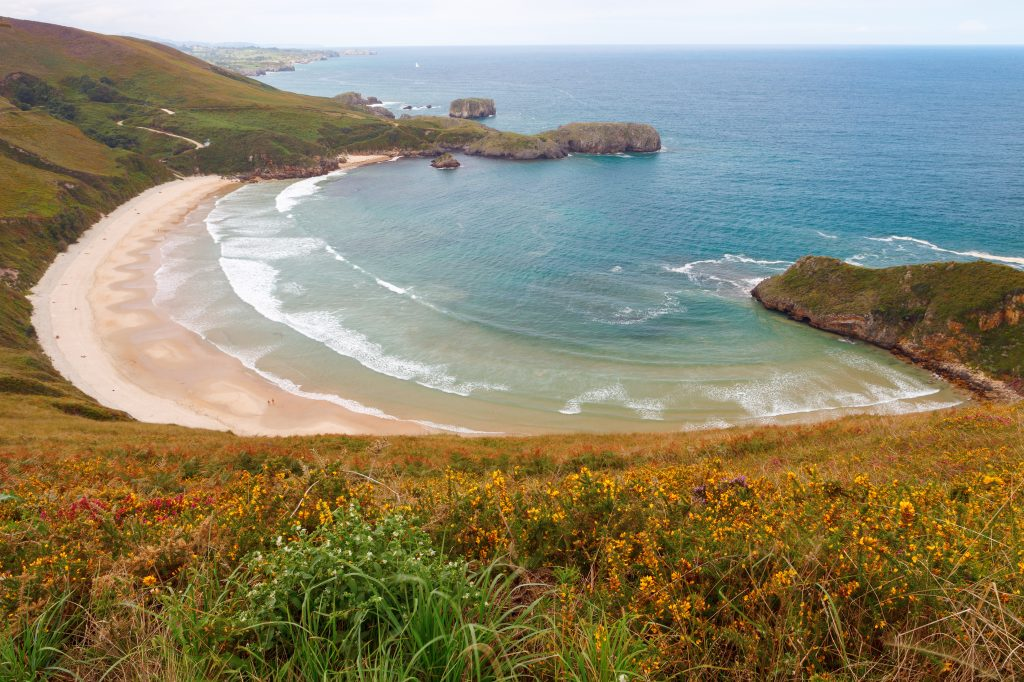 Nudist beach Torimbia, in the council of Llanes, Asturias, Spain